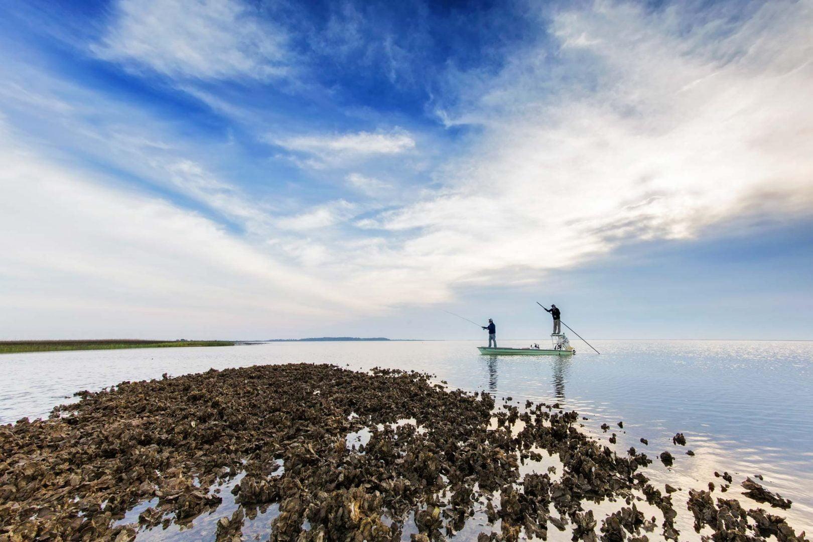 two men inshore reef fishing in the Florida Keys