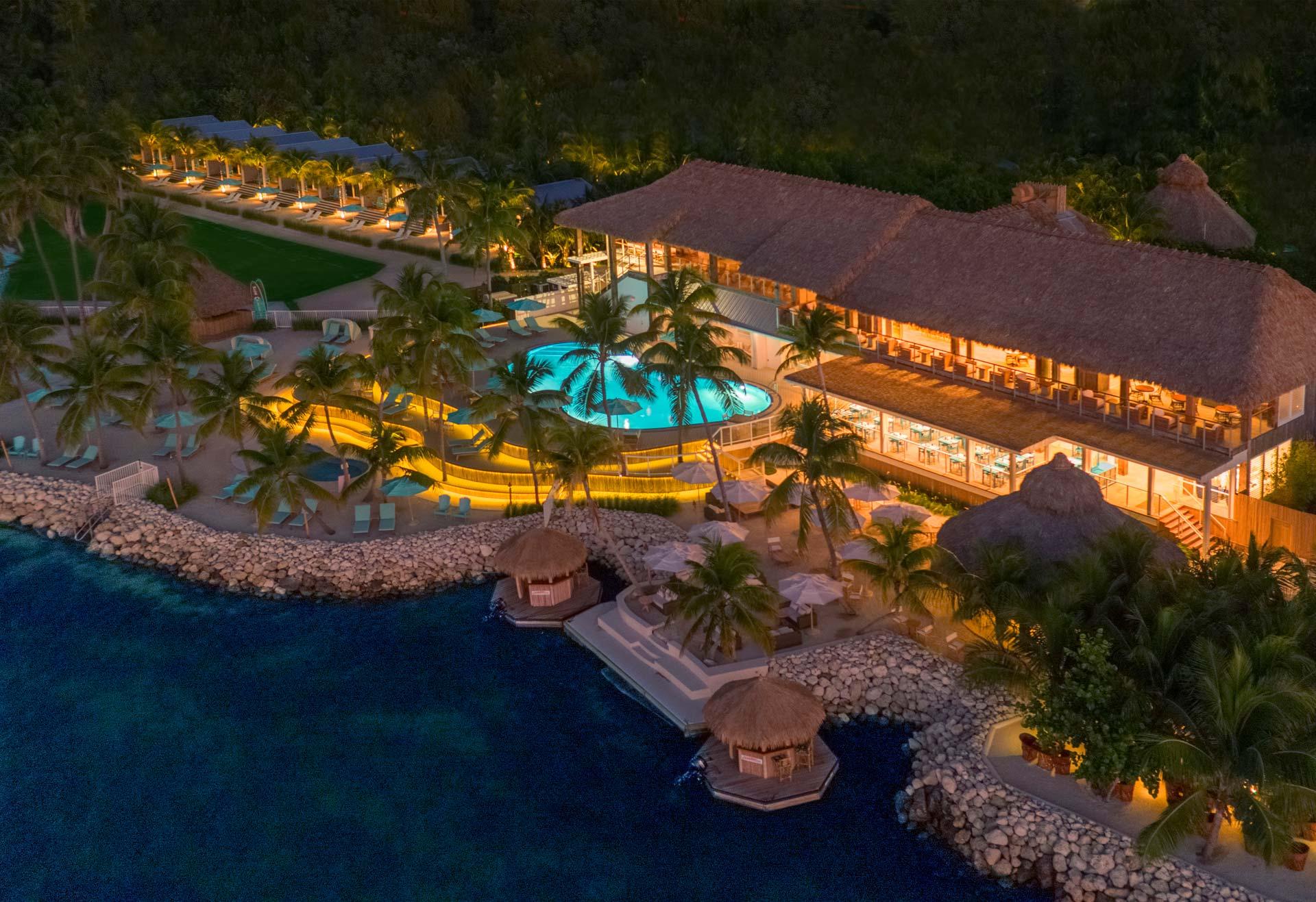 bungalows key largo resort overhead view at night