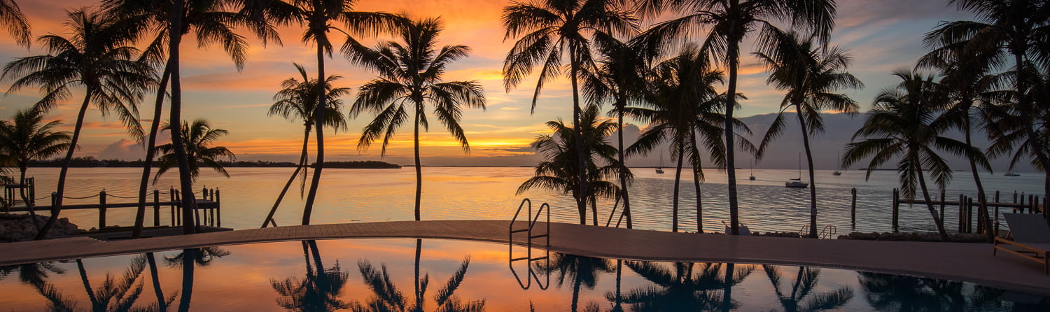 sunset view of pool, palm trees and bay with sailboats