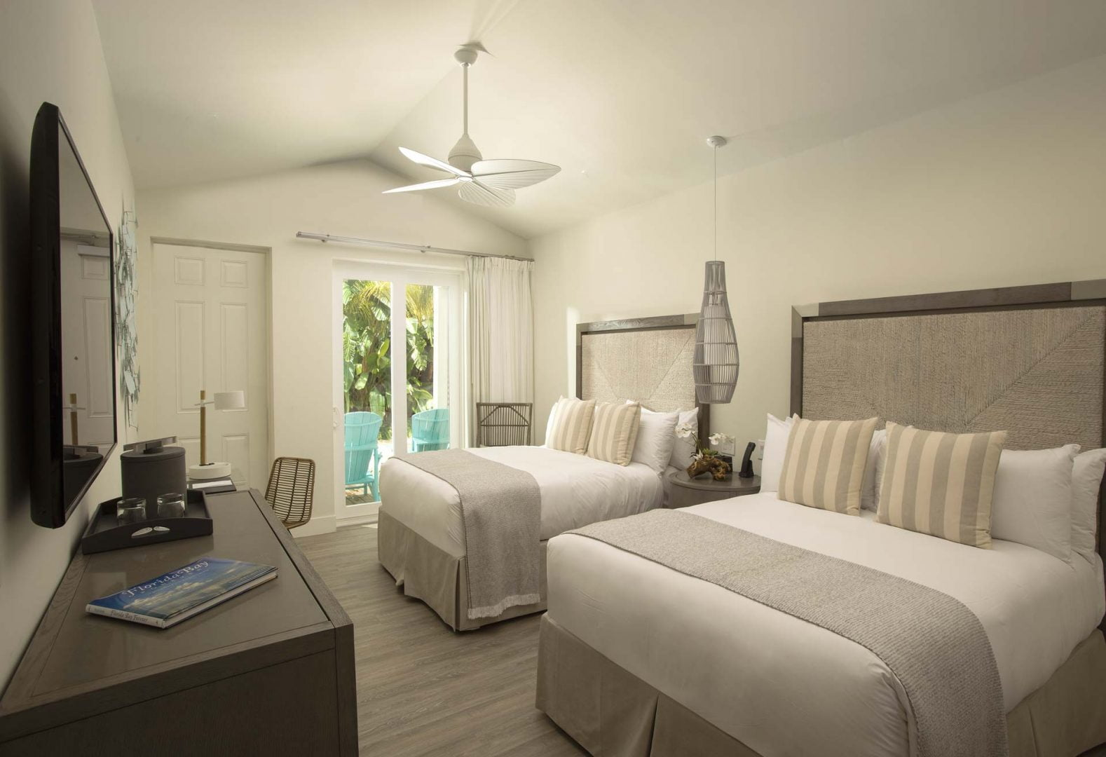 bungalow interior with two queen beds